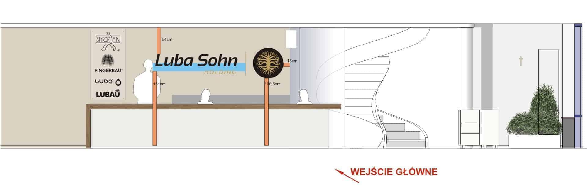 projekt graficzny Luba Sohn Holding ściana z logotypami