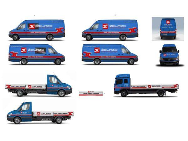 wizualizacja reklamy na samochodach floty firmowej