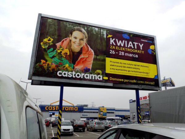 Reklama na billboardy druk plakatu wyklejanie Castorama