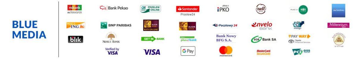 Zapłać poprzez System płatności online Blue Media: płatność kartą płatniczą, przelewem bankowym on-line lub szybkim przelewem bankowym.