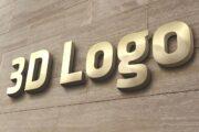 Złote logo mockup złotych liter przestrzennych