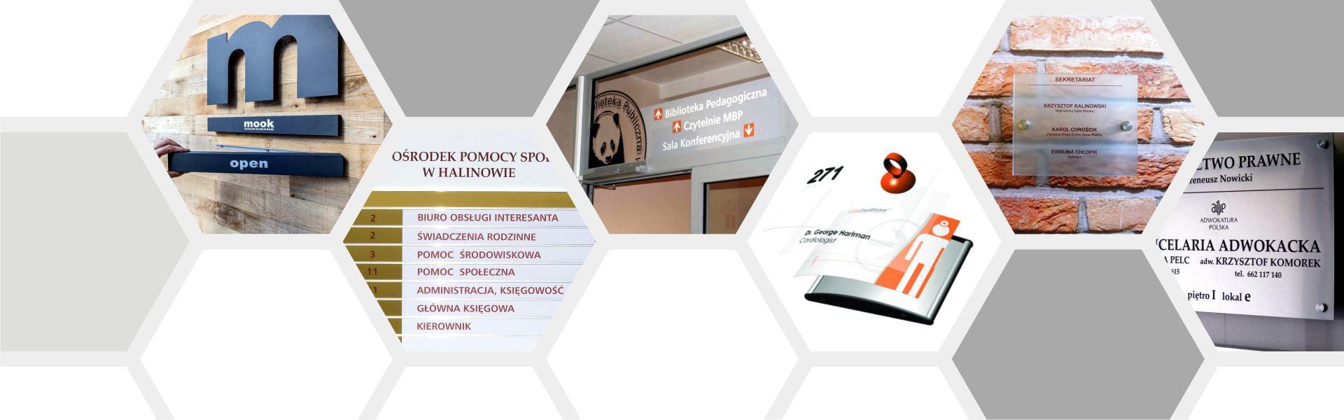 oznakowanie biura systemy panelowe
