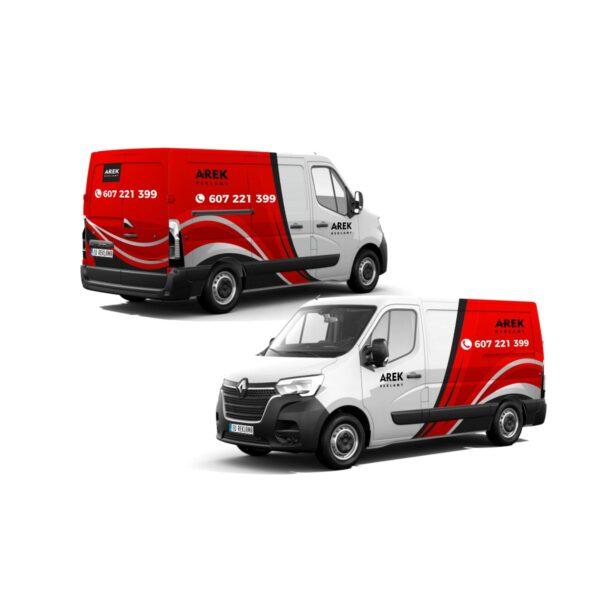 Reklama - naklejki na samochód dostawczy typu furgonetka, furgon, bus duży 4