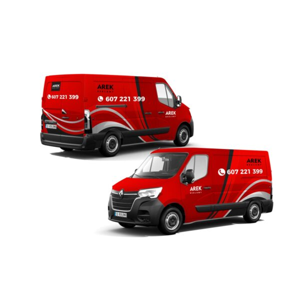 Reklama - naklejki na samochód dostawczy typu furgonetka, furgon, bus duży 5