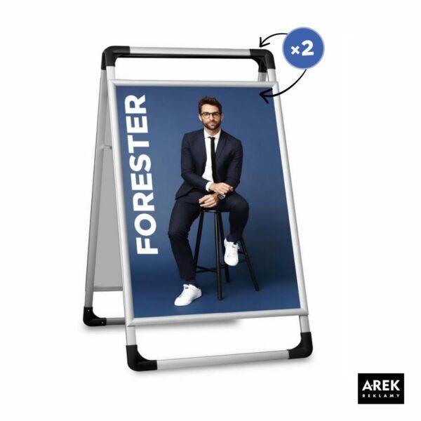 Składany potykacz reklamowy aluminiowy dwustronny 60x90 cm