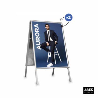 potykacz reklamowy aluminiowy z grafiką dwustronną