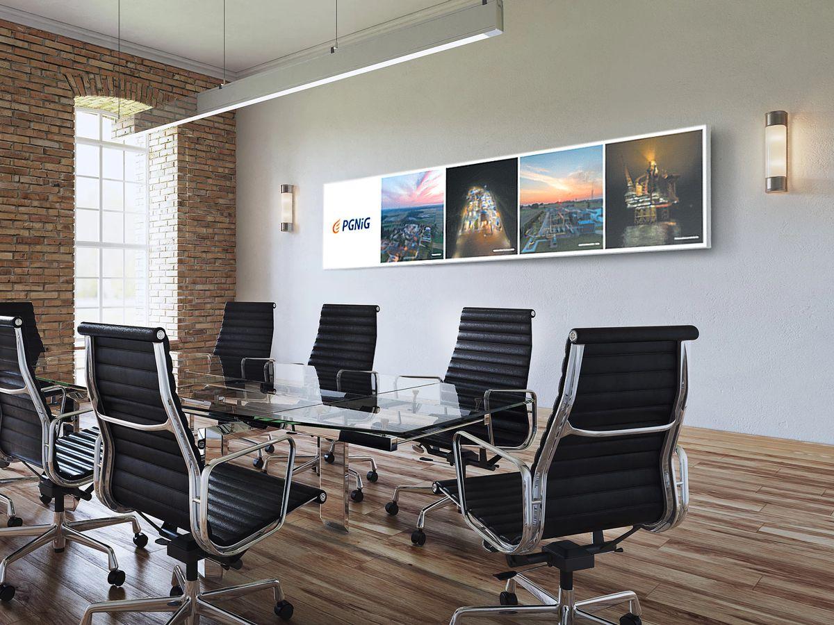 Reprezentacyjny dekor na ścianę grafika dekoracyjna biura   Dekoracja pomieszczenia - reklama w centrali PGNiG