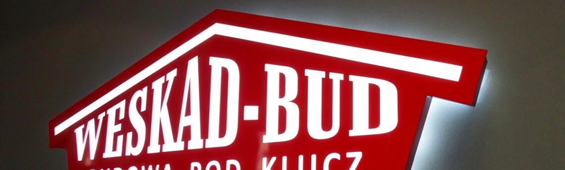 Reklama zewnętrzna na budynek, świecące logo na ścianę